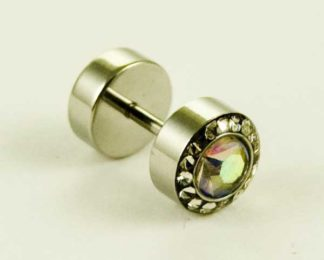 Body Piercing Plug Fake Rainbow CZ