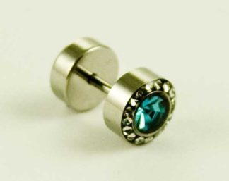 Body Piercing Plug Fake Turquoise CZ