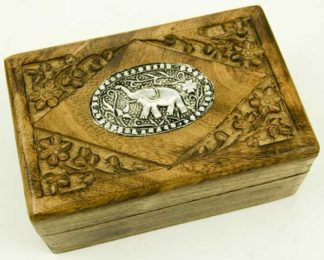 Box Wooden With Elephant