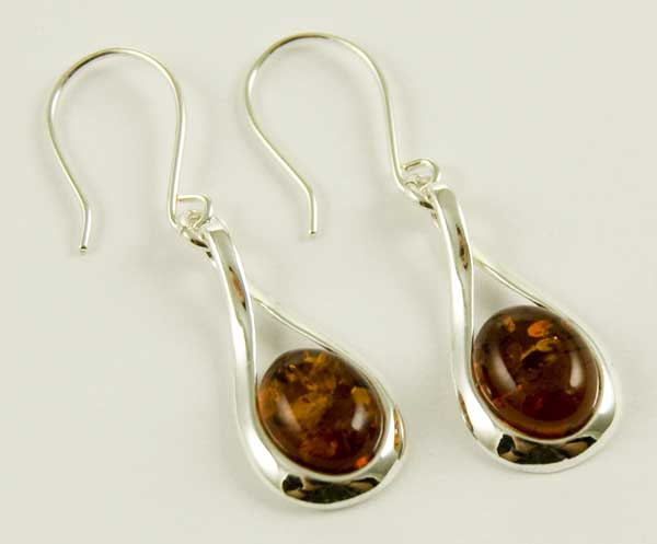 Silver Earring Amber Oval
