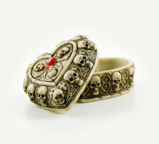 Box Heart Ivory With Skulls