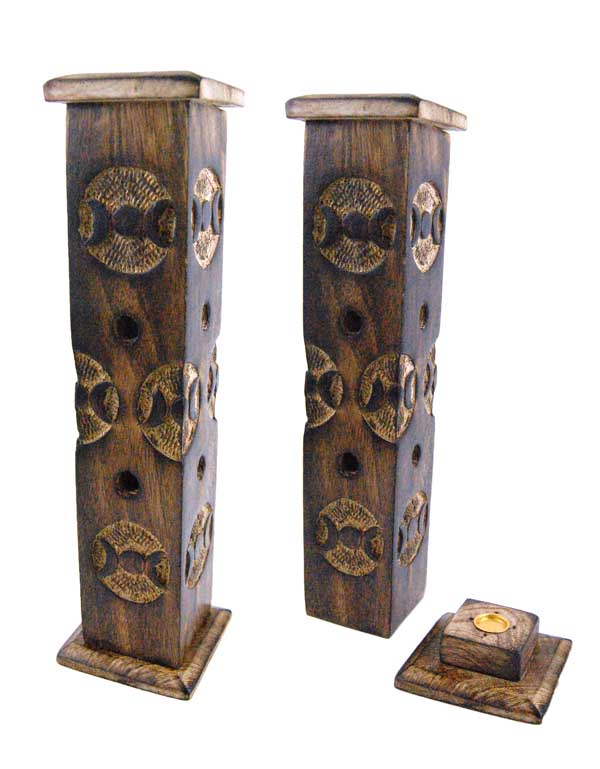 Incense Holder Wood Tower Moon