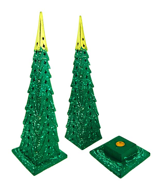 Incense Holder Wood Tower Green