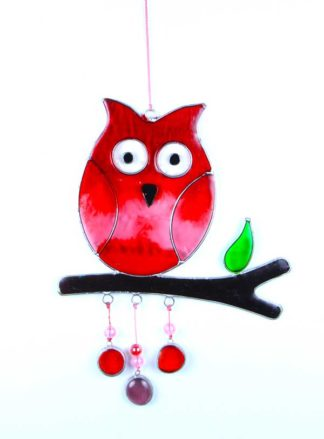 Suncatcher Owl Red 28cm**BUY 12 PCS FOR £2.00 EACH