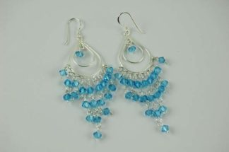 XX-Earring Silver Blue Drop Stone
