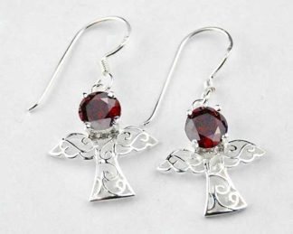Silver Earring Fairy Red Stone