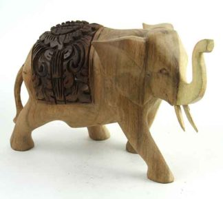 Elephant Wooden Natural 23cm