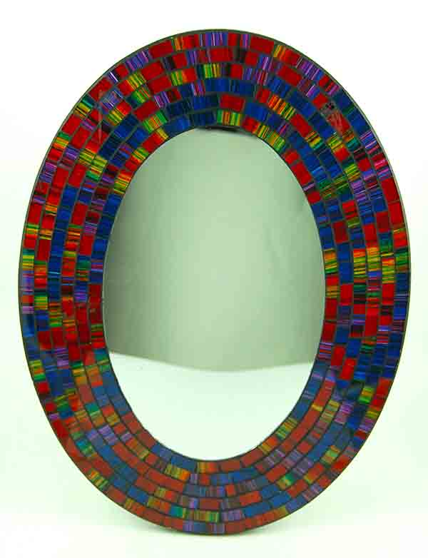 Mirror Oval Mosaic Rainbow