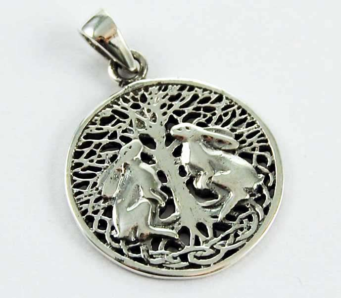 Pendant Silver Hares Gazing Up