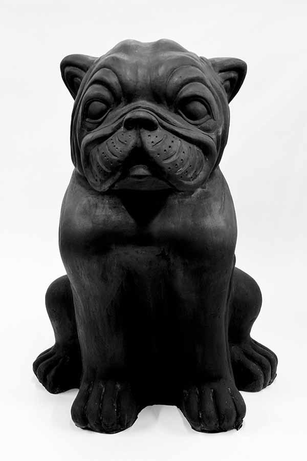 Ceramic Black Garden Dog Figurine