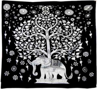Bedspread Single Tree Black