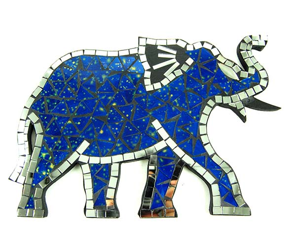Mirror Elephant Mosaic Blue
