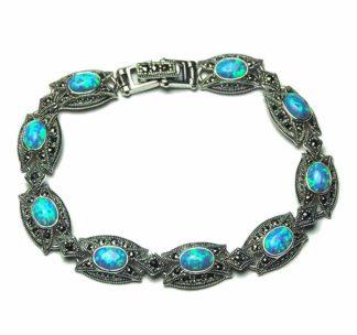 Silver Bracelet Marcasite Blue
