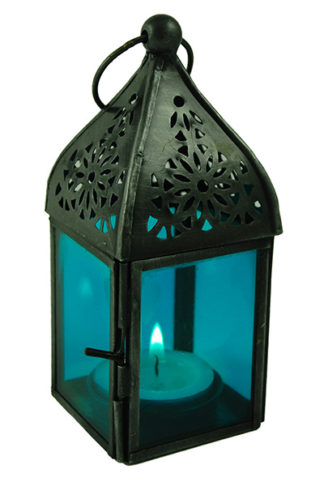 Lantern Candle Holder Blue