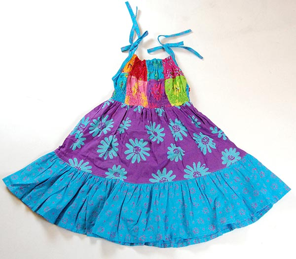 Childrens Dress Patchwork Turq