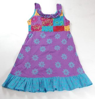 Childrens Dress Patchwork Purp