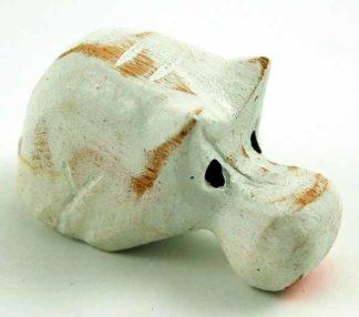 Hippo White Wooden W5.5cm