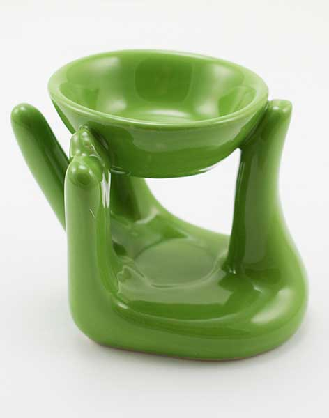 Oil Burner Ceramic Hand Green