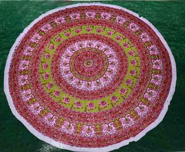 Mandala Tapestry Red And Green