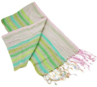 XX-Scarf Lurex Pink And Green Stripes