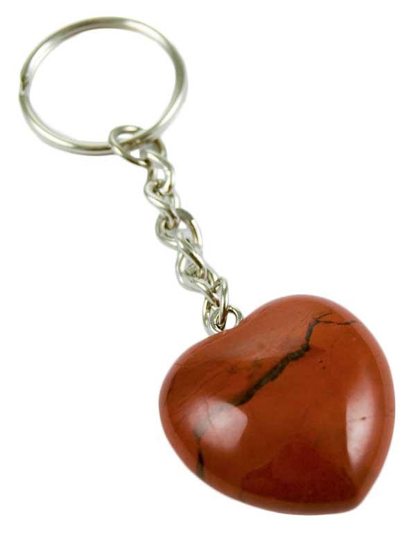 Keyring Heart Red Jasper