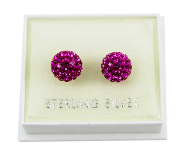 Earring Cluster Fuchsia 8mm Ball *2 For 1*