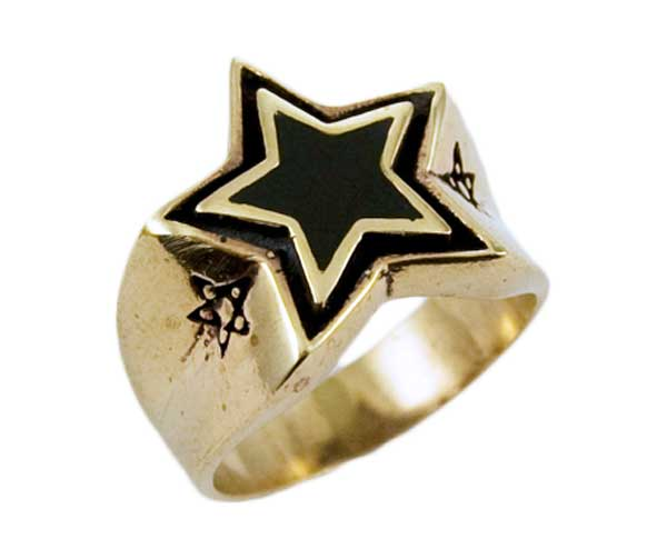 Ring Bronze Black Pentagram