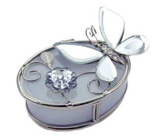 Jewellery Box Oval White Glass