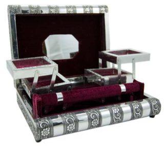 Box Jewellery Metal Top Maroon