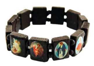 Bracelet Icon Dark Brown Wooden 12pcs