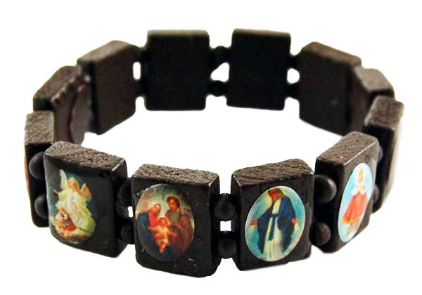 Bracelet Icon Dark Brown Wooden 12pcs