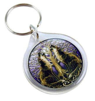 Keyring Moon Gazing Wolves 2pcs