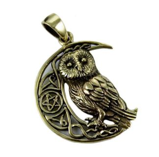 Pendant Bronze Owl On Moon