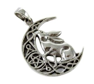 Pendant Silver Hare On Moon