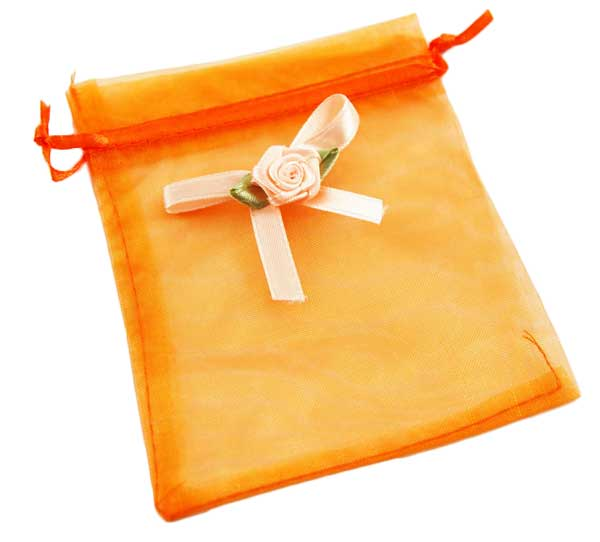 Pouch Mesh Orange With Flower 5pcs