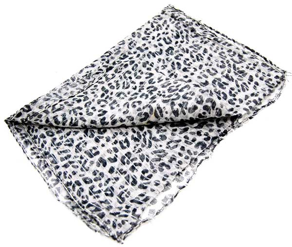 Scarf Lurex Animal Print Black And White 2PCS