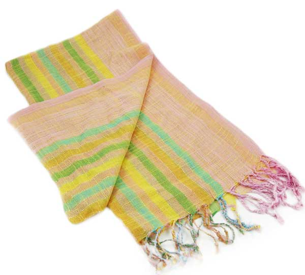 Scarf Lurex Pink With Yellow And Green Stripes