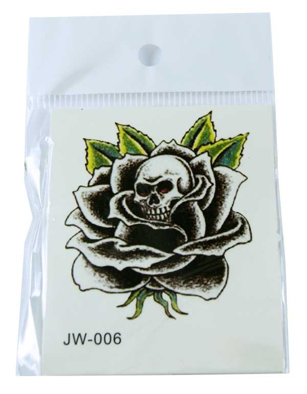 Tattoo Sticker Skull In Black Flower (5pcs)
