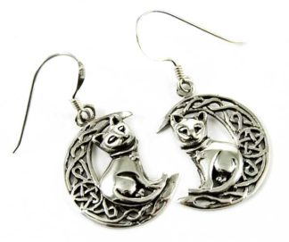 Silver Earring Cat On Moon