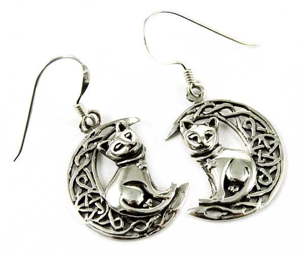 Silver Earring Cat On Moon