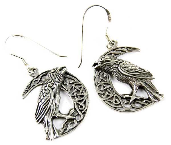 Earring Silver Raven Moon