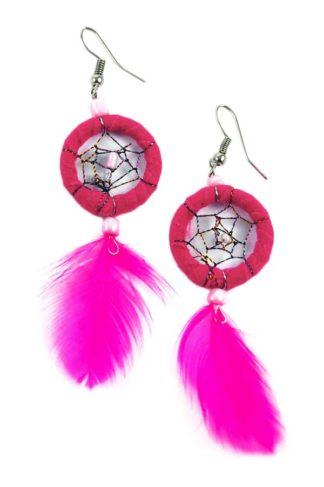Earring Dream Catcher Hot Pink