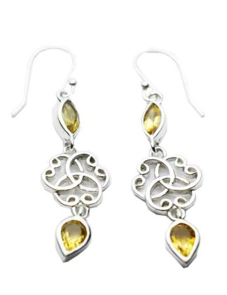 Silver Earring Double Citrine