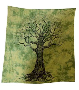 Bedspread Single Tree Green