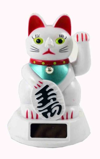 Cat Waving Solar White Colour 5 Inch