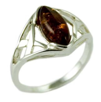 Silver Ring Amber Oval