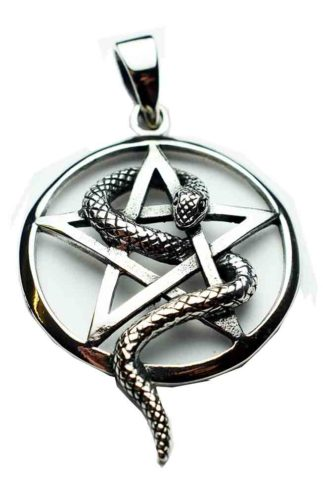 Silver Pendant Snake Pentagram
