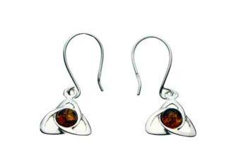 Silver Earring Amber Stone