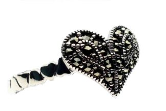 Silver Ring Marcasite Heart