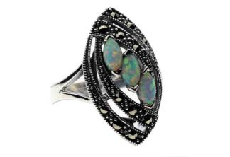 Silver Ring Marcasite Opal